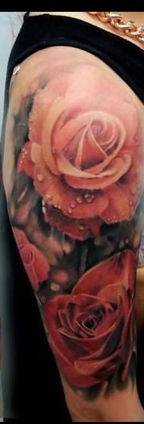 Pink Roses Portrait Tattoos On Half Sleeve