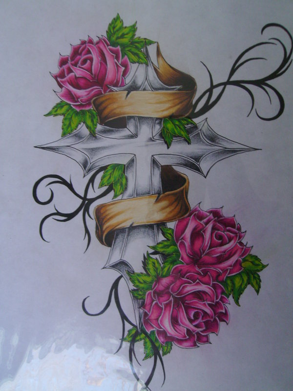Pink Roses Yellow Banner And Tribal Tattoos Flash