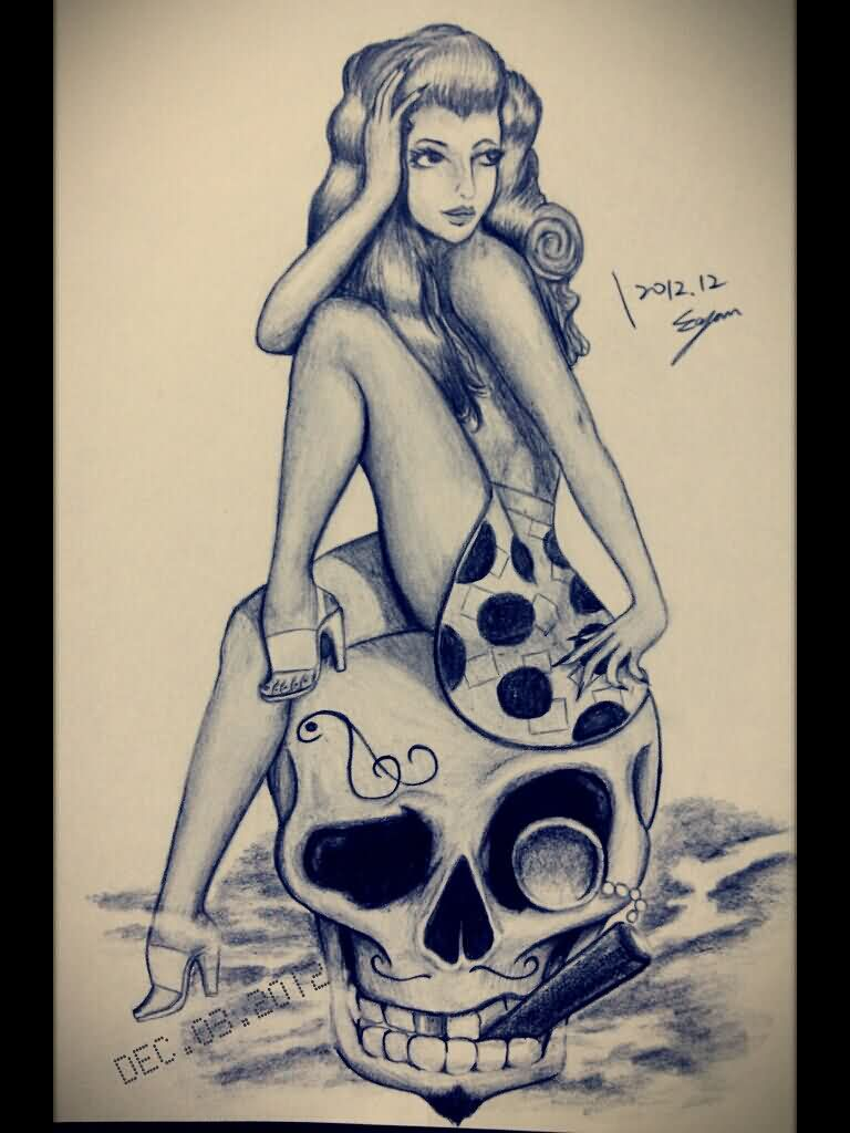 Pinup Girl On Smoking Skull Tattoo Sketch