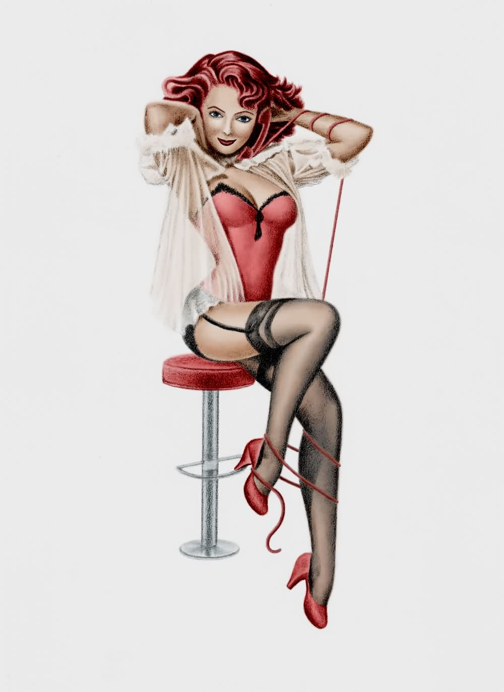 Pinup Girl Photoshot Tattoo Design