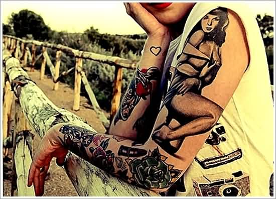 Pinup Girl Rose And Lipstick Tattoos On Left Arm