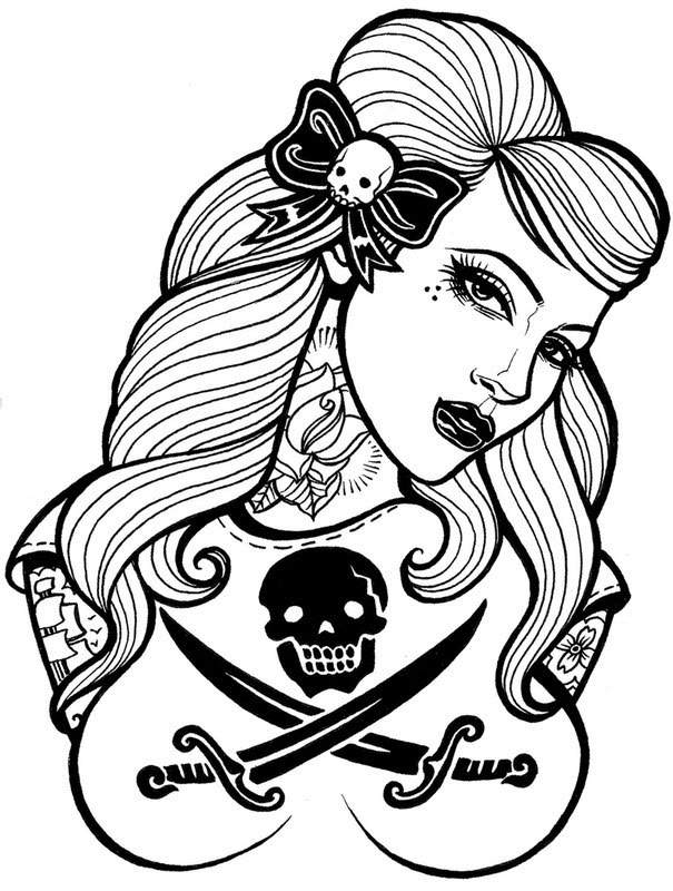 Pinup Pirate Portrait Tattoo Design