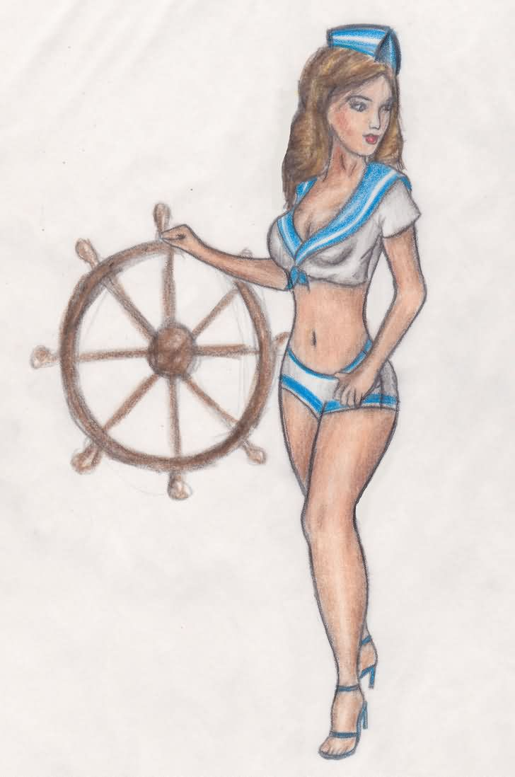 Pinup Sailor Tattoo Sketch
