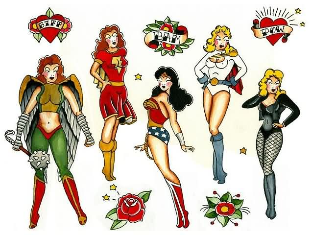 Pinup Superhero Tattoos Set