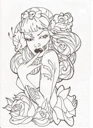 Pinup Zombie And Roses Tattoo Drawing