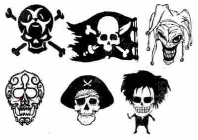 Pirate And Calavera Skull Tattoos Set