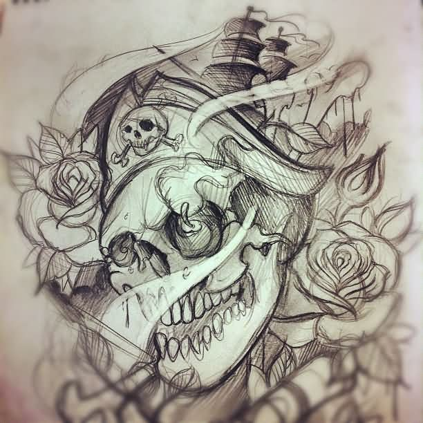 Pirate And Roses Tattoos Sketch