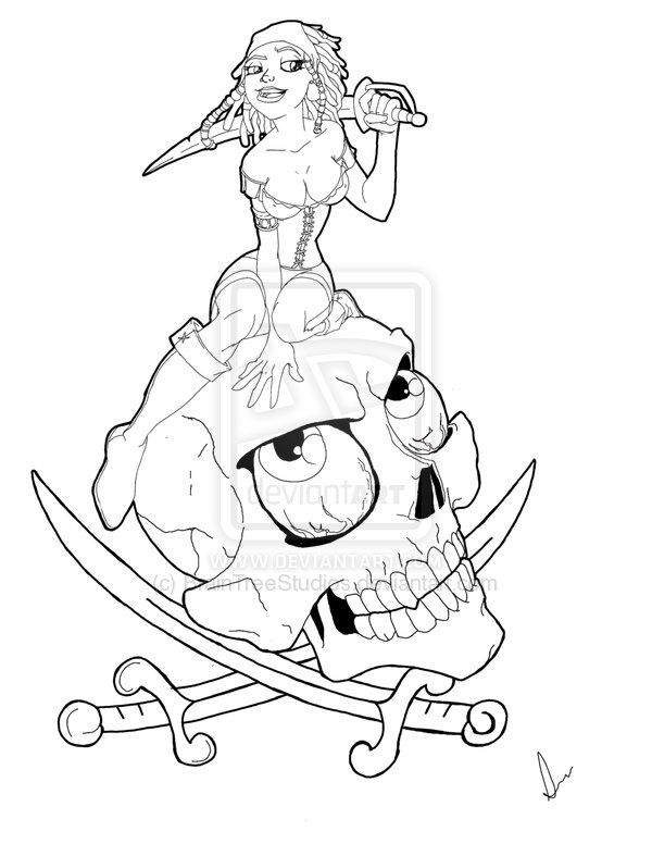 Pirate Chick On Skull Tattoo Sample