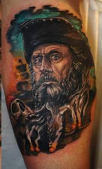 Pirate Color Portrait Tattoos