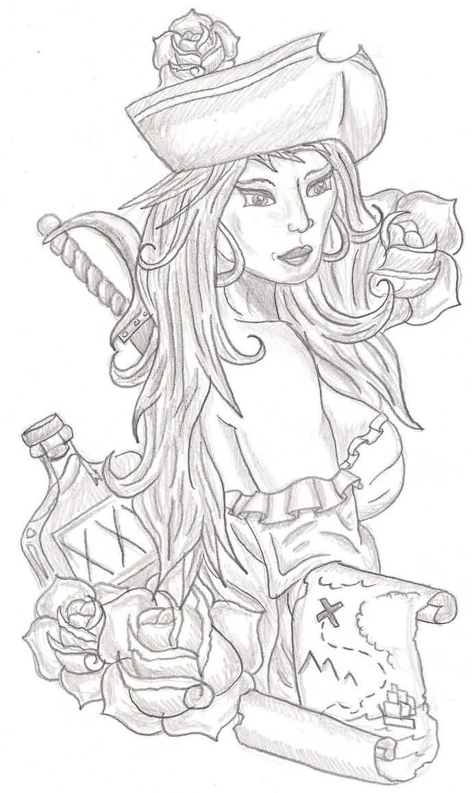 Pirate Girl And Scroll Tattooss Sketch
