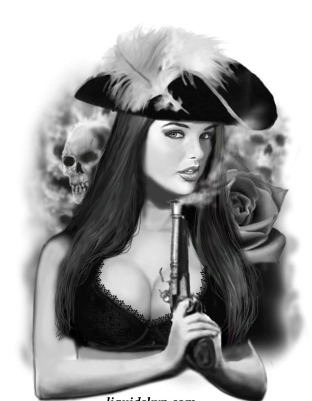 Pirate Girl Blowing Gun Smoke Tattoo Design