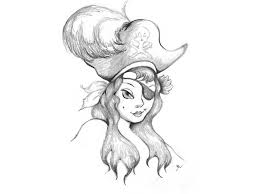 Pirate Girl Tattoo Sketch