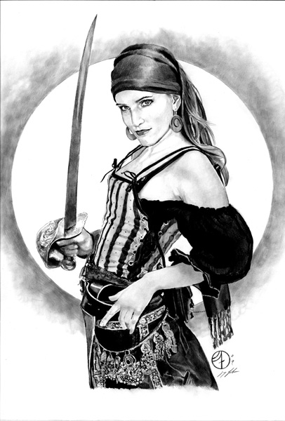 Pirate Girl With A Sword Tattoo Sketch