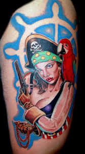 Pirate Girl With Pistol Tattoo