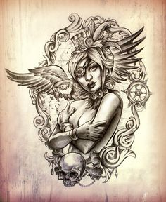 Pirate Girl With Wings Tattoo Poster