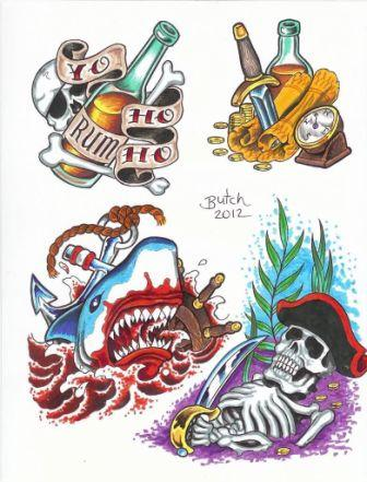 Pirate Life Tattoo Flash