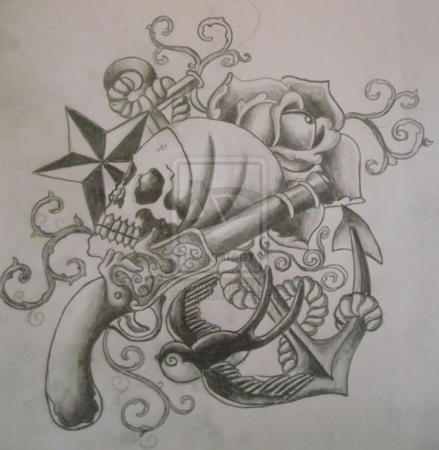 Pirate Nautical Star And Bird Tattoos Sketch