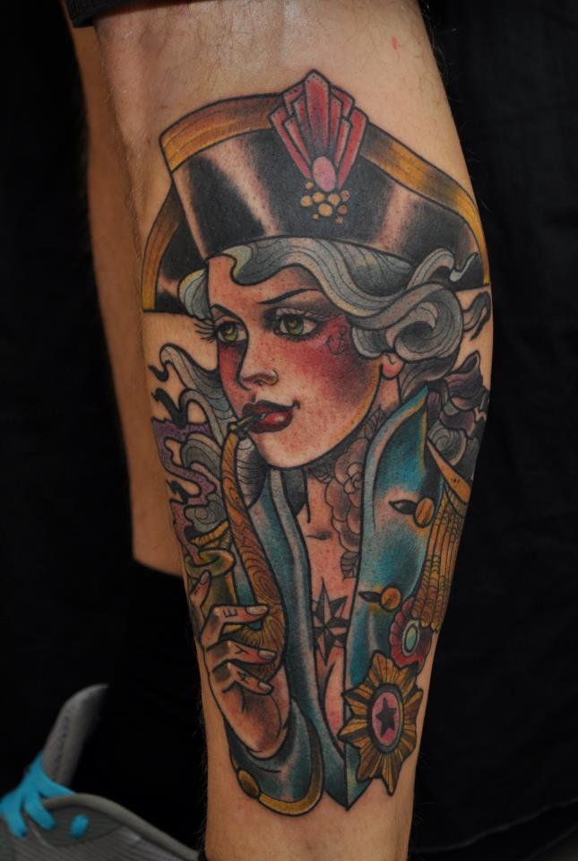 Pirate Pin Up Girl Smoking Tattoo On Leg For Boys
