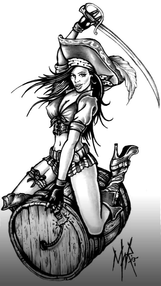 Pirate Pin Up Girl With Sword Tattoo Design