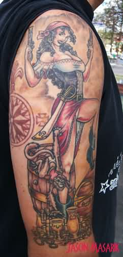 Pirate Pin Up With Pistols Tattoo On Arm