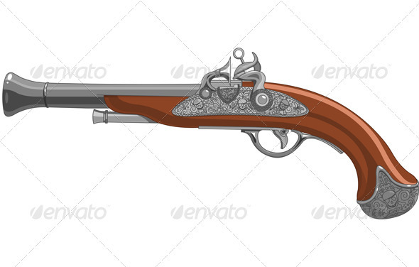 Pirate Pistol Tattoo Design