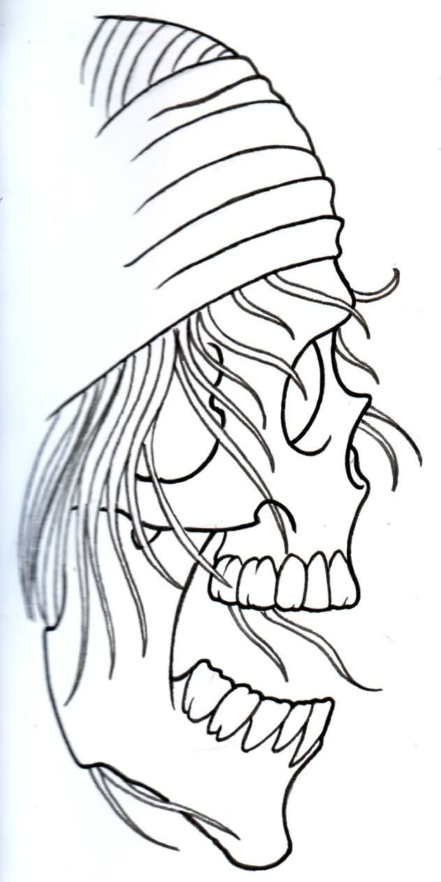 Pirate Rocker Skull Outline Tattoo Stencil