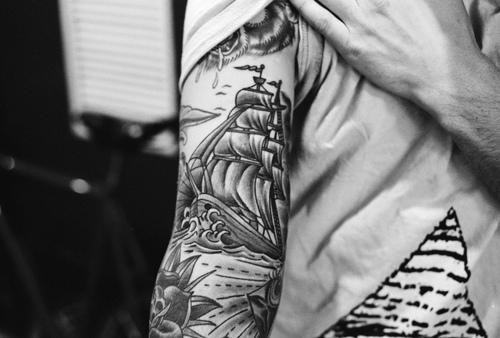 Pirate Ship And Roses Tattoos On Sleeve