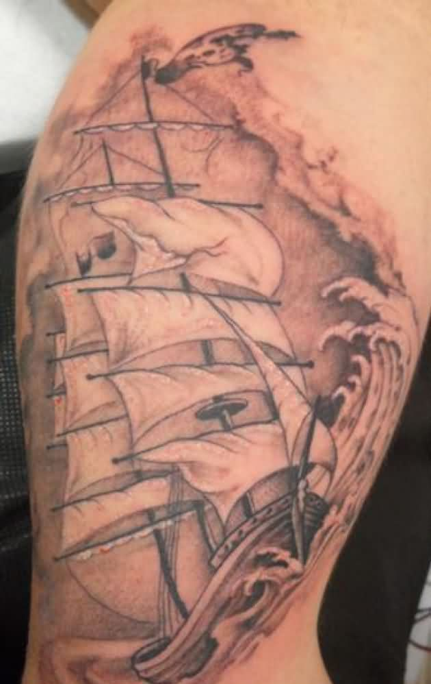 Pirate Ship And Waves Tattoos