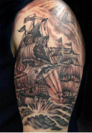 Pirate Ship Battle Tattoo On Arm