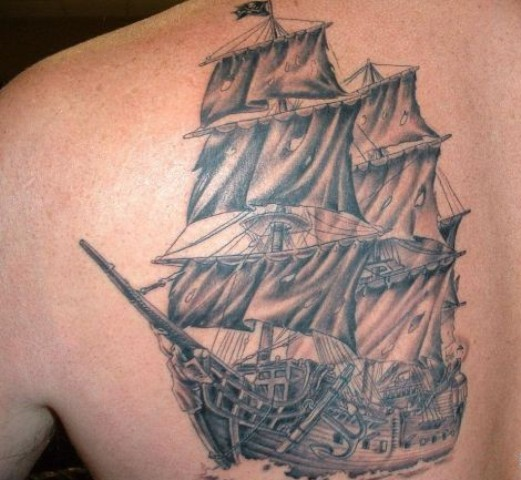 Pirate Ship Grey Ink Tattoo For Men