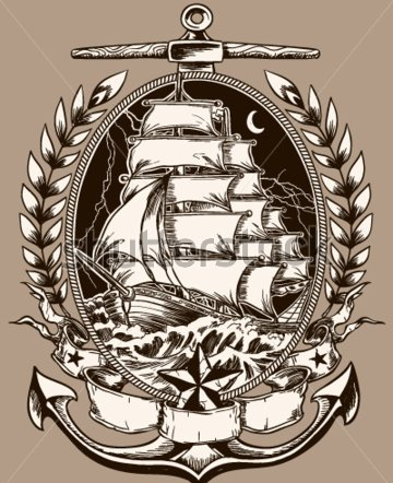 Pirate Ship In Crest Tattoo Poster