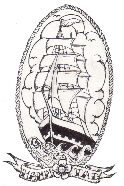Pirate Ship In Rope Circle Tattoo Design