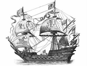 Pirate Ship In Water Tattoo Design