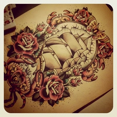Pirate Ship Roses And Butterfly Tattoos Page
