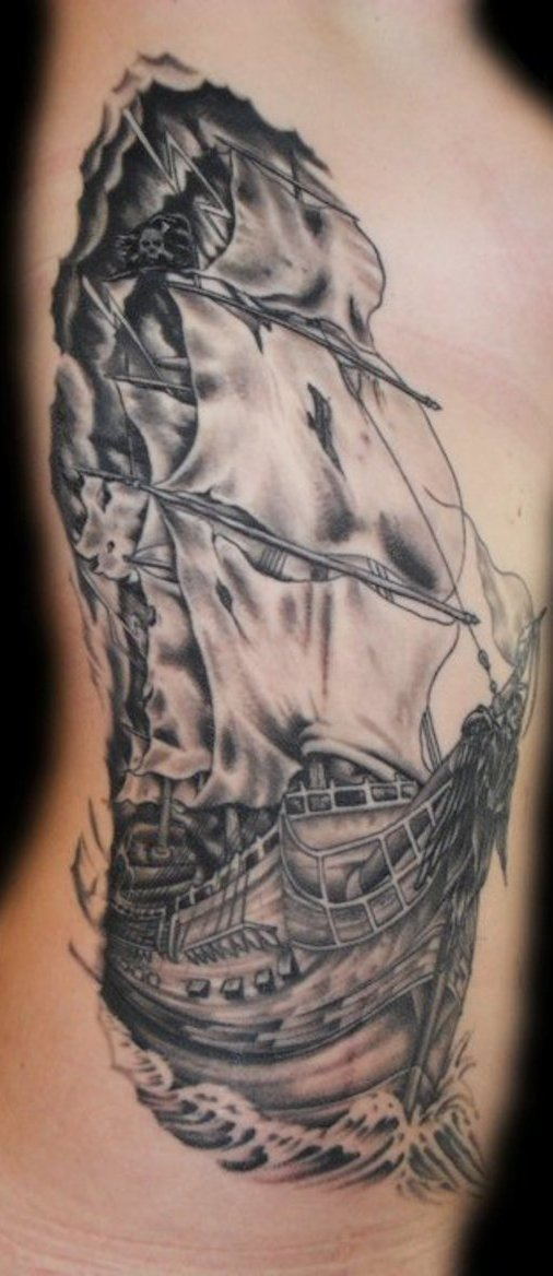 Pirate Ship Tattoo On Side