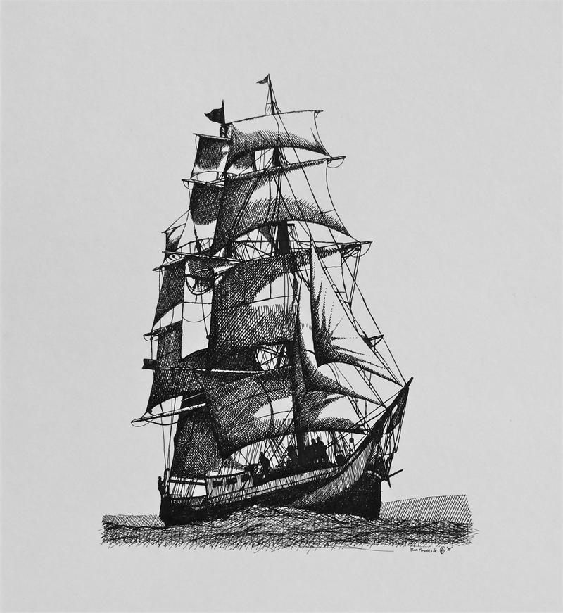 Pirate Ship Tattoo Sketch