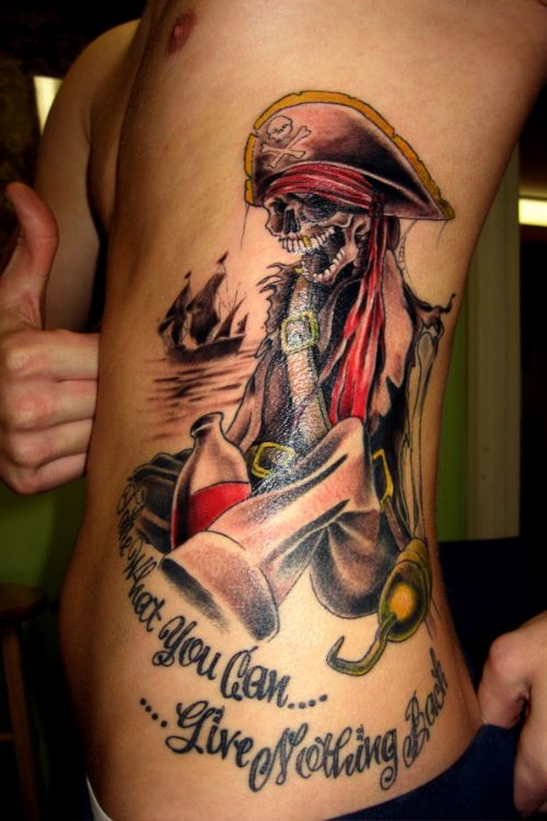 Pirate Skeleton Tattoo On Side Body