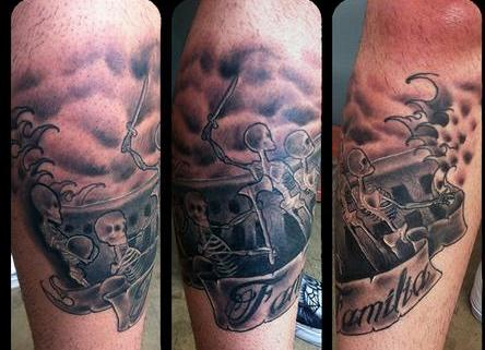 Pirate Skeletons In Boat Tattoo