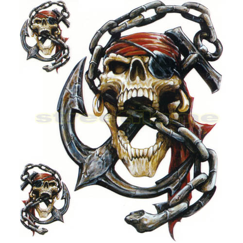 Pirate Skull Anchor Tattoo Designs