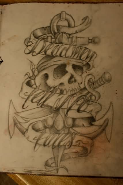 Pirate Skull Anchor Tattoo Sketch