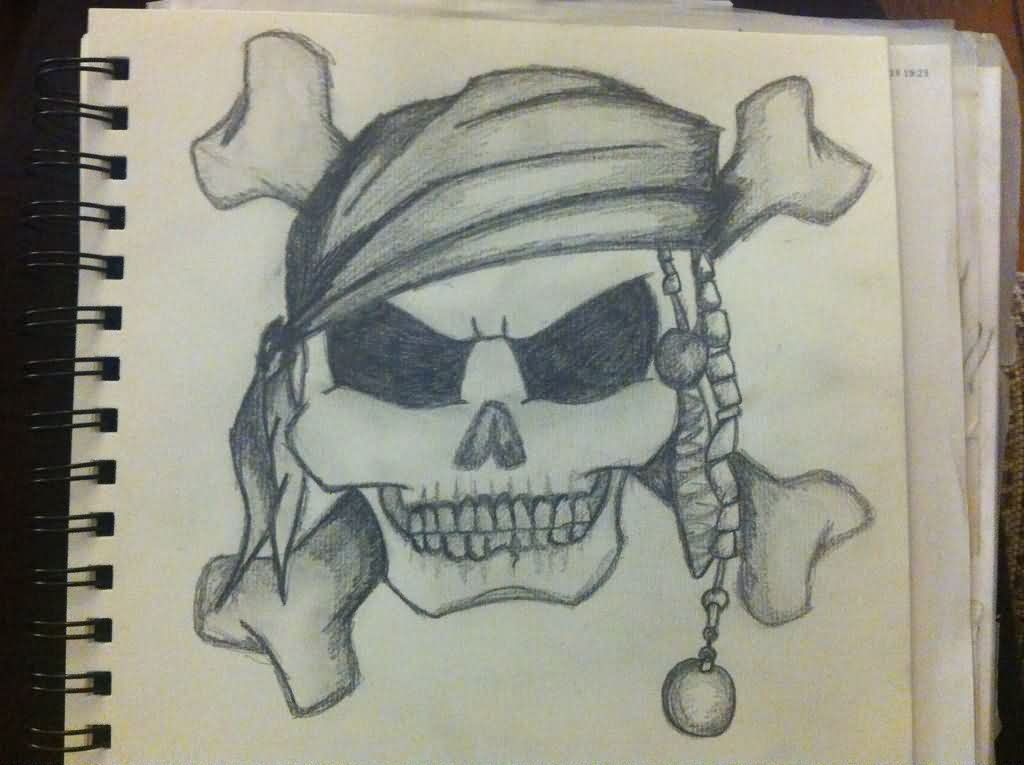 Pirate Skull And Crossbone Tattoo Sketch