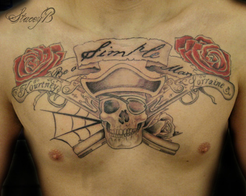Pirate Skull And Long Pistol Tattoos On Chest