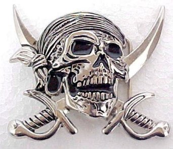 Pirate Skull Crossed swords Belt Buckle