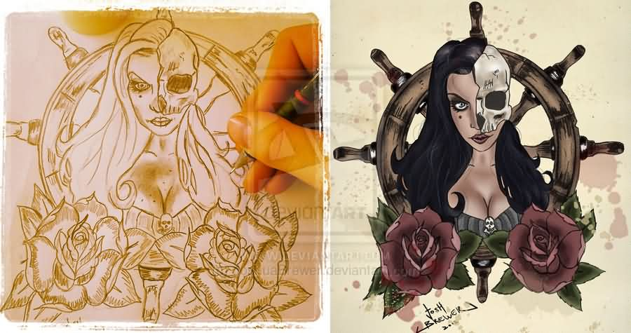Pirate Skull Girl And Roses Tattoos Designs
