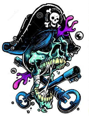 Pirate Skull Treasure's Keys Tattoo Designs