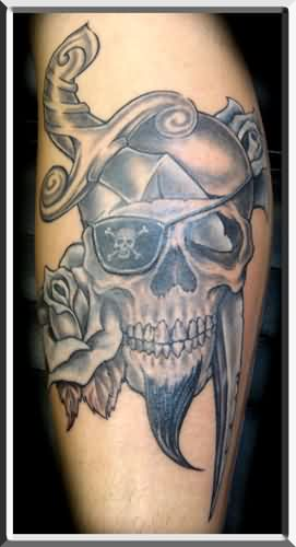 Pirate Skull With Beard Tattoo
