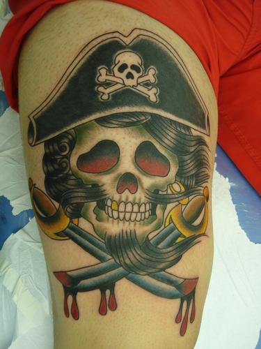 Pirate Skull With Bleeding Crossed Sword Tattoos
