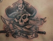 Pirate  Skull With Crossed Swords Tattoos