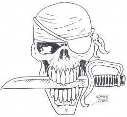 Pirate Skull With Knife In Mouth Tattoo Sample