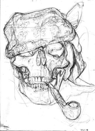 Pirate Smoking Skull Tattoo